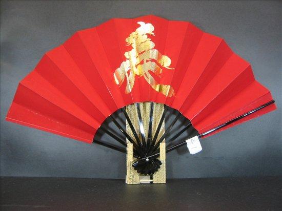 BK-1 舞扇子 赤べた 金箔松寿