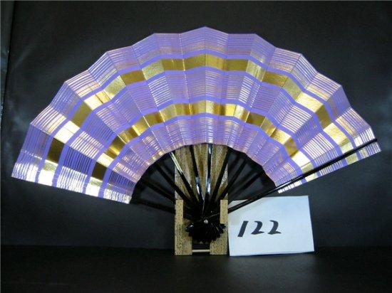 B122 舞扇子 金箔横線 紫色べた