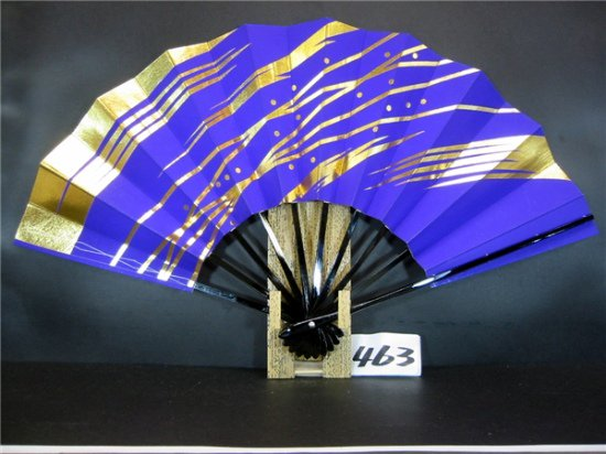 B463 舞扇子 紫べた 金箔ナナメ変わりつゆ草