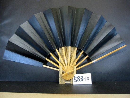 A583-10 舞扇子 尺 本黒柿渋 白骨