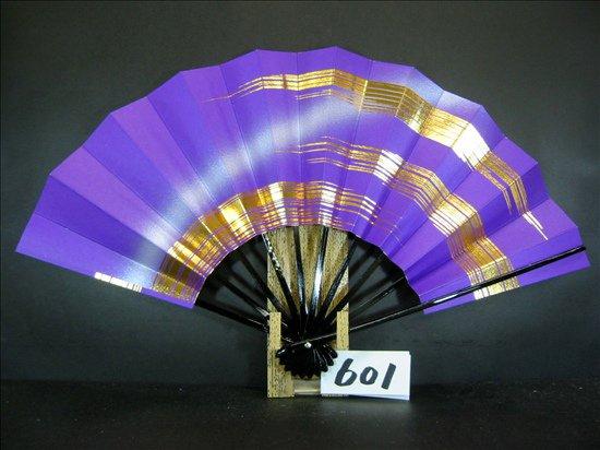 A601  舞扇子 金箔かすみ 紫べた シルバーピース