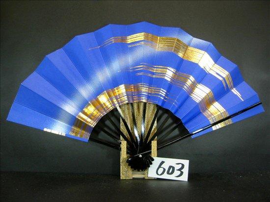 A603  舞扇子 金箔かすみ 青べた シルバーピース