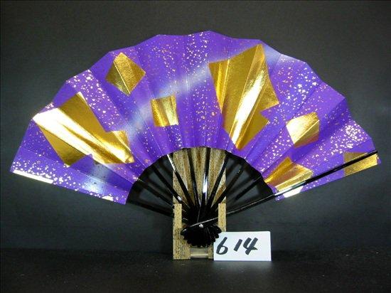 A614  舞扇子 金箔色紙砂子 紫べたシルバーピース