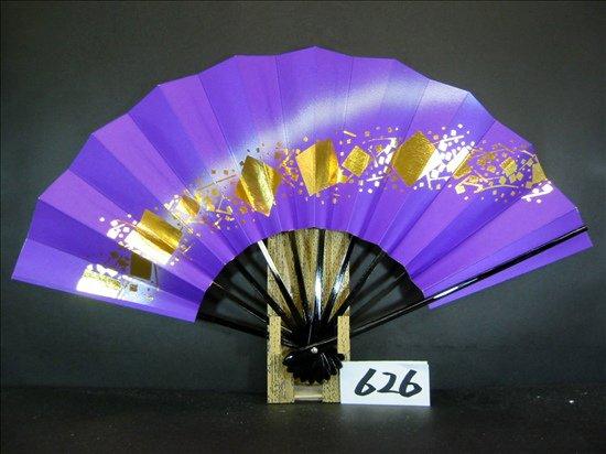 A626  舞扇子 金箔小石 紫べた シルバーピース