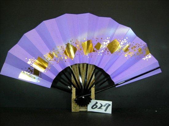 A627  舞扇子 金箔小石 薄紫べた シルバーピース
