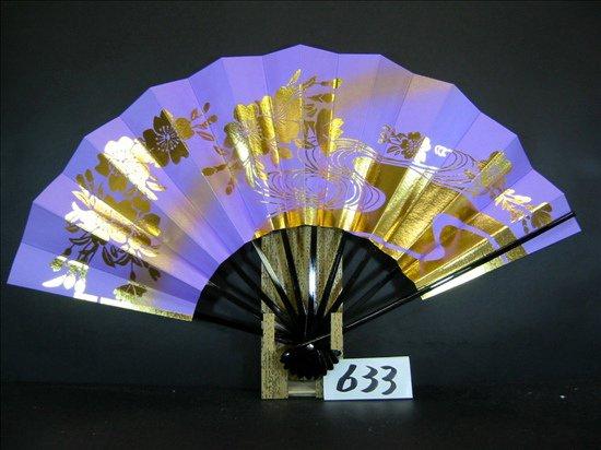 A633  舞扇子 金箔桜 薄紫べたゴールドピース