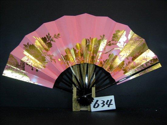 A634  舞扇子 金箔桜 ピンクべたシルバ-ピース