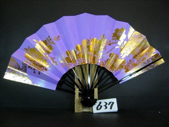 A637  舞扇子 金箔桜 薄紫べたシルバ-ピース