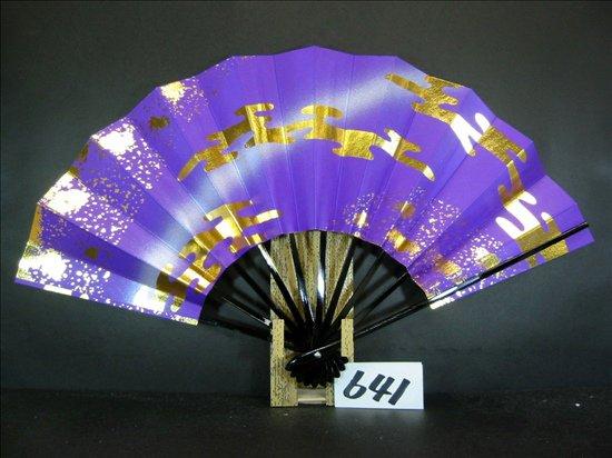 A641  舞扇子 金箔雲切り廻し 紫べた シルバ-ピース