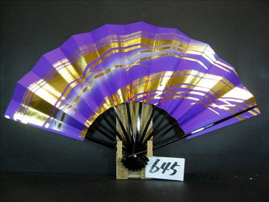A645  舞扇子 金箔かすみつゆ草紫シルバ-ピース