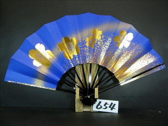 A654  舞扇子 金箔桜砂子 青べたゴールドピース