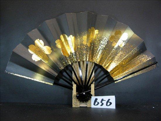 A656  舞扇子 金箔桜砂子 黒べたゴールドピース