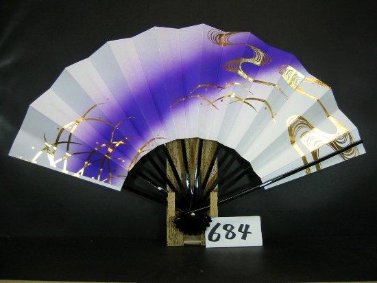 A684 舞扇子 金箔流水つゆ草 紫ナナメピース