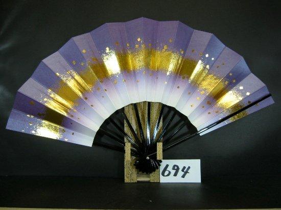 A694 舞扇子 金箔小石 紫天ぼかし シルバー引き
