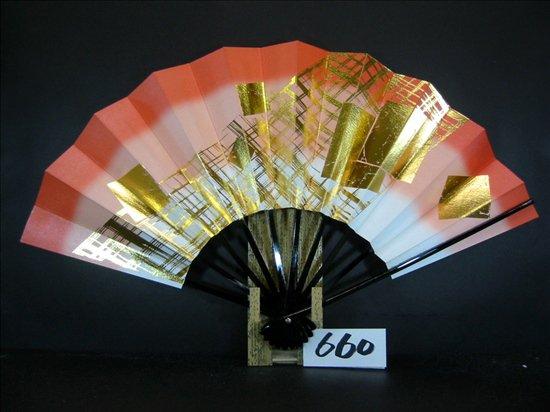 A660  舞扇子 金箔色紙格子 朱天二段シルバーびき