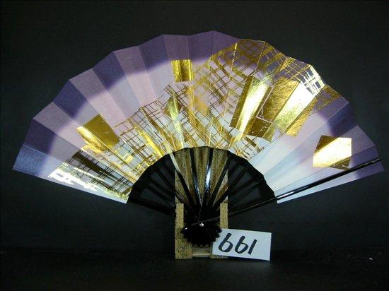 A661  舞扇子 金箔色紙格子 紫天二段シルバーびき