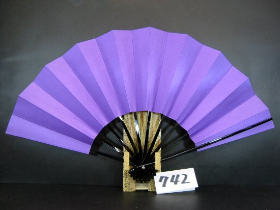 A742 舞扇子 黒骨 紫地