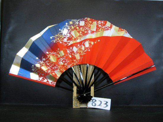 B823 舞扇子 金銀箔 小石 朱ベタ片妻青銀