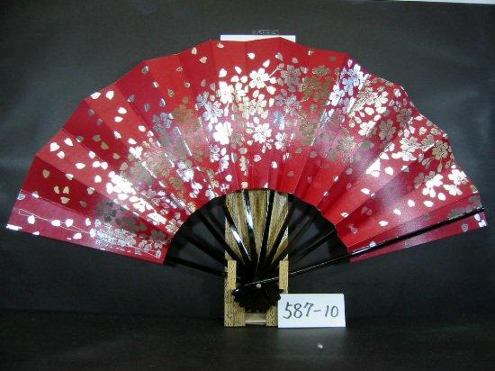 A587-10  尺舞扇子 銀箔桜 白ピース 赤地