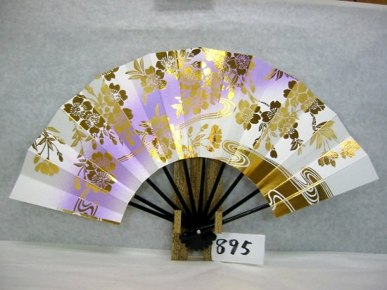 A895 舞扇子 金箔桜水流 ナナメ紫シルバーピース