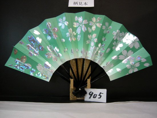 A905 舞扇子 ホロ箔桜 草天ぼかしシルバー地