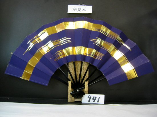 A941 舞扇子 金箔かすみ 紫地