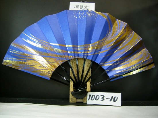 A1003-10 尺舞扇子 金箔吹雪 青シルバー地