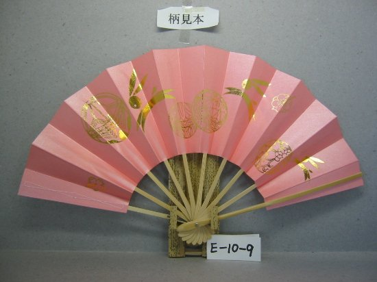E10-9 干支扇 子供舞飾り 金箔兎柄2 ピンク地シルバーびき 白骨