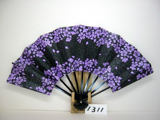 A1311 舞扇子 黒桜抜き柄 シルバー砂子 紫地