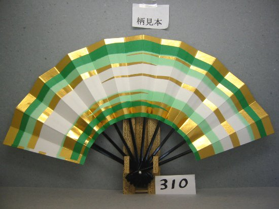 A310 舞扇子 緑天地二段 金箔かすみ