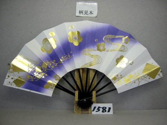 A1581 舞扇子 金箔梅小石流水 紫ナナメピース