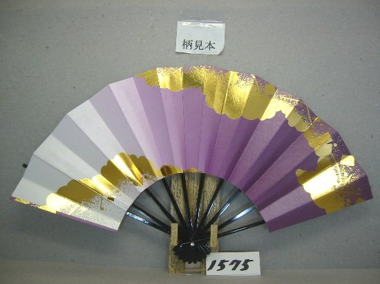 A1575 舞扇子 金箔雲小石 紫横ぼかしシルバー引き