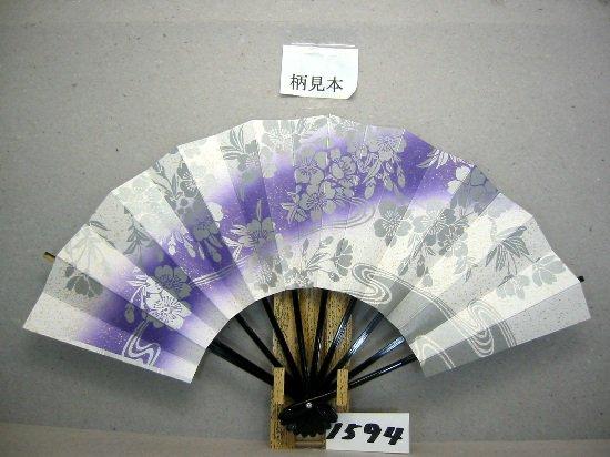 A1594 舞扇子 銀泥桜流水 金泥砂子 紫ナナメピース