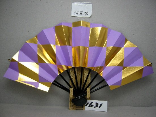 A1631 舞扇子 金箔市松模様 薄紫地