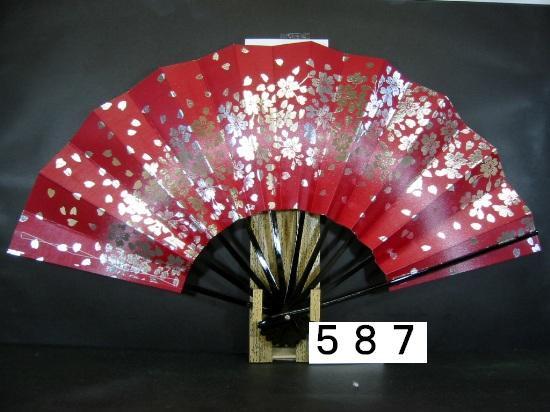 A587 舞扇子 銀箔桜 白ピース 赤地