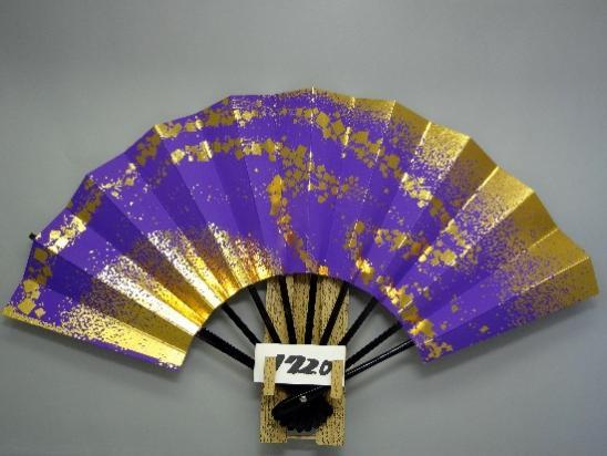 A1720 舞扇子 金箔小石並び 紫地