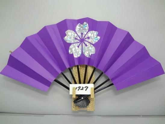 A1727 舞扇子 ホロ箔一輪桜 紫地