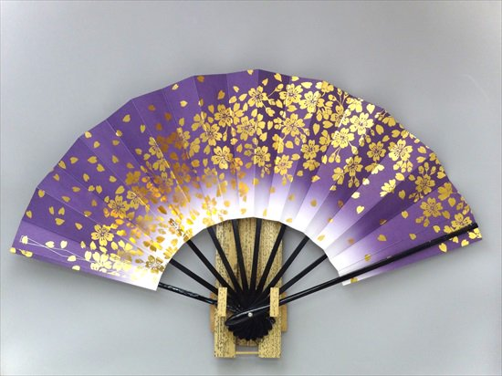 A38 舞扇子 紫天ぼかし 金箔桜