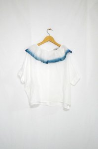 <img class='new_mark_img1' src='//img.shop-pro.jp/img/new/icons47.gif' style='border:none;display:inline;margin:0px;padding:0px;width:auto;' />colenimo-Silk Cotton frill indigo Collar Blouse