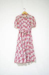 VINTAGE-40s Print Cotton Dress