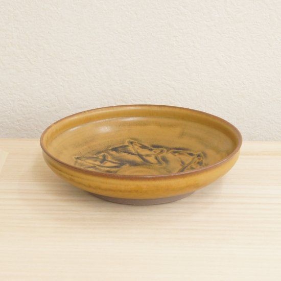 鉄釉線刻鉢[木箱]