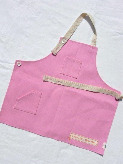 kotetsudai Apron|子供用帆布エプロン|Sサイズ(身長90〜100cm)・ピーチピンク