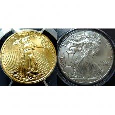最高鑑定◆2017年 アメリカ イーグルリバティーコイン Bimetallic set 【5$Gold 1$Silver】 PCGS MS70