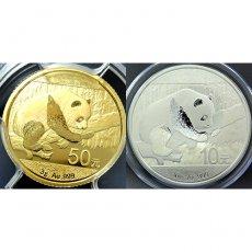 2016年 中国 パンダコイン Bimetallic set 【50元 Gold  10元 Silver】 PCGS MS69