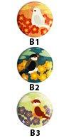 ことりバッジ−デザイン【花と文鳥】