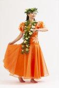 プリントオーガンジドレス OD-06 orange【商品コード1OD06】