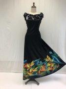 【SALE】ハレコニア(バードオブパラダイス)プリントドレス