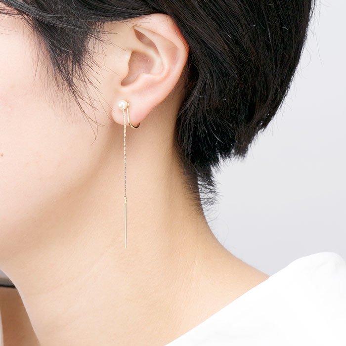 Single Pearl Threader Earrings(一粒パールのイヤリング)