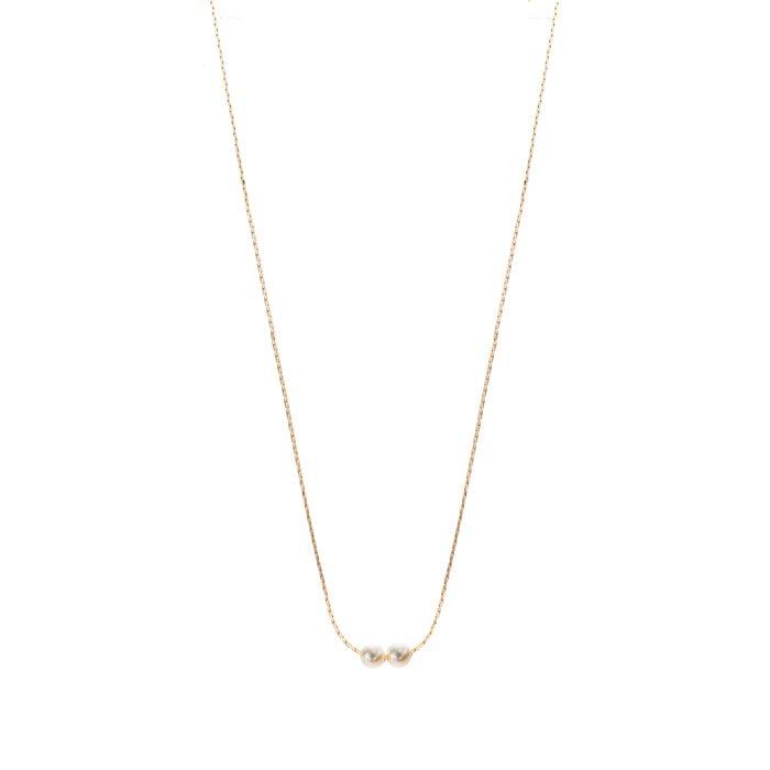 2 Pearl Necklace-47cm(2粒パールネックレス)