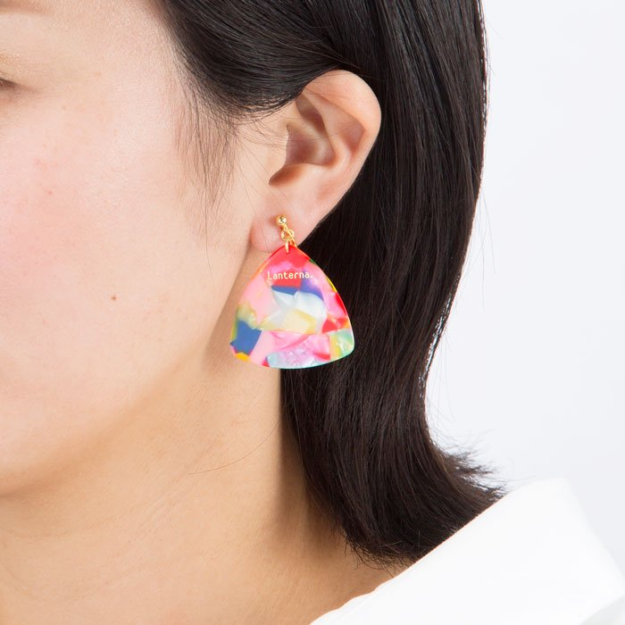 Pick Earring - Marble Pink (ピックのイヤリング - マーブルピンク)